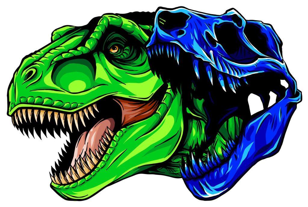 illustration of a dinosaur head and skull